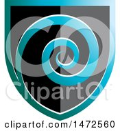 Clipart Of A Black Teal And Blue Spiral Shield Royalty Free Vector Illustration by Lal Perera
