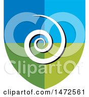 Clipart Of A Blue And Green Spiral Shield Royalty Free Vector Illustration by Lal Perera