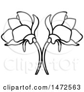 Black And White Double Flower Design