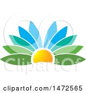 Clipart Of A Flower Petal Sunset Design Royalty Free Vector Illustration