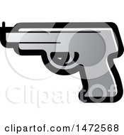 Clipart Of A Silver Pistol Icon Royalty Free Vector Illustration by Lal Perera