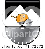 Clipart Of A Concrete Cutter Oover A Saw Blade Royalty Free Vector Illustration by Lal Perera