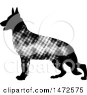 Clipart Of A Profiled German Shepherd Dog In Halftone Dots Royalty Free Vector Illustration by Lal Perera