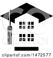 Clipart Of A Building With A Tassel And Graduation Cap Roof Royalty Free Vector Illustration