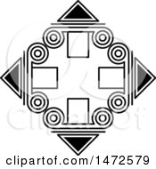 Clipart Of A Black And White Diamond With Spirals And Triangles Royalty Free Vector Illustration by Lal Perera