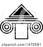 Clipart Of A Black And White Triangle And Column Royalty Free Vector Illustration by Lal Perera