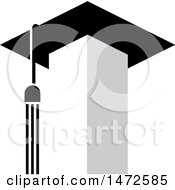 Clipart Of A Tower With A Tassel And Graduation Cap Roof Royalty Free Vector Illustration