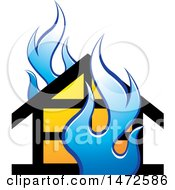 Clipart Of A House And Blue Flames Icon Royalty Free Vector Illustration