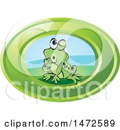 Clipart Of A Frog In A Green Oval Royalty Free Vector Illustration by Lal Perera
