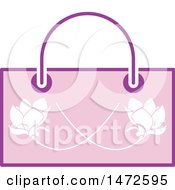 Clipart Of A Pink Floral Hand Bag Royalty Free Vector Illustration by Lal Perera