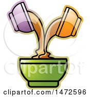 Clipart Of Mixing Bowls With Two Pouring Ingredients Into A Larger One Royalty Free Vector Illustration