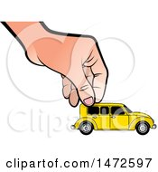 Clipart Of A Hand Moving A Toy Vintage Car Royalty Free Vector Illustration