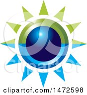 Clipart Of A Green And Blue Sun Icon Royalty Free Vector Illustration by Lal Perera