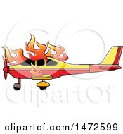 Clipart Of A Small Airplane On Fire Royalty Free Vector Illustration