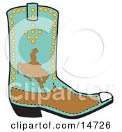 Turquoise And Brown Boot Of A Cowboy In Silhouette Riding A Bucking Bronco Clipart Illustration