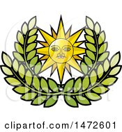 Clipart Of A Sun Face Over Leaves Royalty Free Vector Illustration by Lal Perera