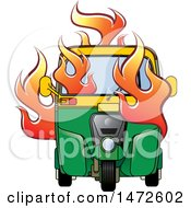 Clipart Of A Flaming Tuk Tuk Auto Rickshaw Royalty Free Vector Illustration by Lal Perera