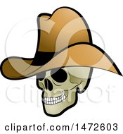 Clipart Of A Human Skull Cowboy Royalty Free Vector Illustration