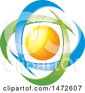 Clipart Of A Sun In Green And Blue Swooshes Royalty Free Vector Illustration by Lal Perera