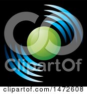 Clipart Of A Green Circle And Blue Signal Icon On Black Royalty Free Vector Illustration by Lal Perera