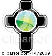 Clipart Of A Cross With A Landscape Royalty Free Vector Illustration by Lal Perera