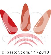 Clipart Of Three Painted Finger Nails Over Arches Royalty Free Vector Illustration