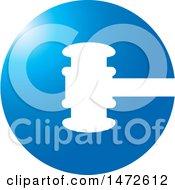 Round Blue Gavel Icon