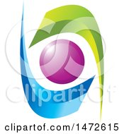 Clipart Of A Green Blue And Purple Abstract Icon Royalty Free Vector Illustration by Lal Perera
