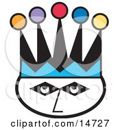 Jokers Face Wearing A Colorful Jester Hat Clipart Illustration by Andy Nortnik