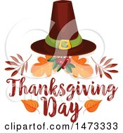 Clipart Of A Pilgrim Hat With Thanksgiving Day Text Royalty Free Vector Illustration