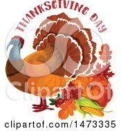 Clipart Of A Turkey Bird With Thanksgiving Day Text Royalty Free Vector Illustration