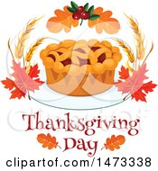 Clipart Of A Pie With Thanksgiving Day Text Royalty Free Vector Illustration