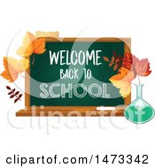 Clipart Of A Chalkboard With Welcome Back To School Text Royalty Free Vector Illustration