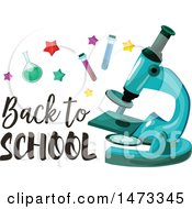 Clipart Of A Microscope With Back To School Text Royalty Free Vector Illustration by Vector Tradition SM