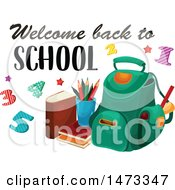 Clipart Of A Backpack With Welcome Back To School Text Royalty Free Vector Illustration by Vector Tradition SM