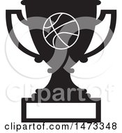 Clipart Of A Silhouetted Basketball Trophy Cup With A Blank Plaque Royalty Free Vector Illustration