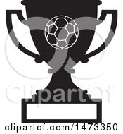 Clipart Of A Silhouetted Soccer Trophy Cup With A Blank Plaque Royalty Free Vector Illustration by Johnny Sajem