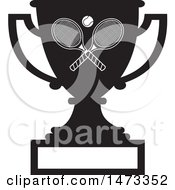 Clipart Of A Silhouetted Tennis Trophy Cup With A Blank Plaque Royalty Free Vector Illustration by Johnny Sajem
