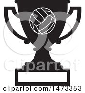 Clipart Of A Silhouetted Volleyball Trophy Cup With A Blank Plaque Royalty Free Vector Illustration
