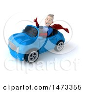 Poster, Art Print Of 3d Young Brunette White Male Super Hero In A Blue And Red Suit On A White Background