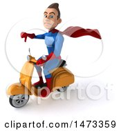 Clipart Of A 3d Young Brunette White Male Super Hero In A Blue And Red Suit On A White Background Royalty Free Illustration