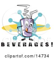 Purple Cup Holding Fountain Soda And A Straw Clipart Illustration