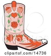 Pink Cowgirl Boot With A Pattern Of Red Roses