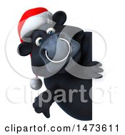 Clipart Of A 3d Christmas Black Bull Character On A White Background Royalty Free Illustration