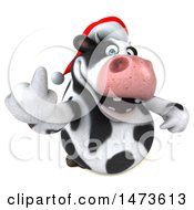Clipart Of A 3d Christmas Holstein Cow Character On A White Background Royalty Free Illustration by Julos