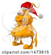 Poster, Art Print Of 3d Yellow Christmas Germ Virus On A White Background