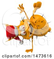 Clipart Of A 3d Yellow Christmas Germ Virus On A White Background Royalty Free Illustration