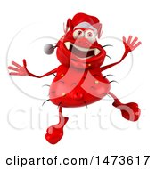 Poster, Art Print Of 3d Red Monster Or Germ Character On A White Background