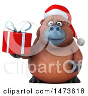 Clipart Of A 3d Christmas Orangutan Monkey Mascot On A White Background Royalty Free Illustration by Julos