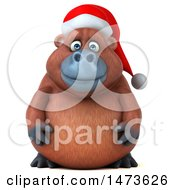 Clipart Of A 3d Christmas Orangutan Monkey Mascot On A White Background Royalty Free Illustration
